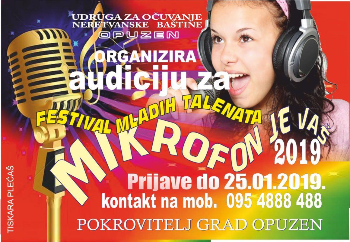 MIKROFON JE VAŠ 2019 – Prijavite se na audiciju za festival u Opuzenu